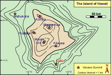 Volcanoes on the  Big Island with Loihi highlighted
