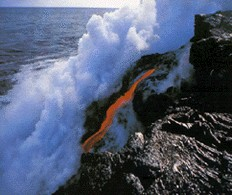 lava pouring into the sea