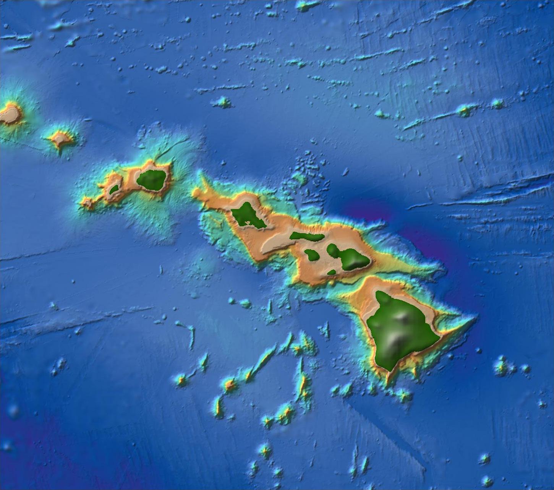 Topographic Map Hawaiian Islands
