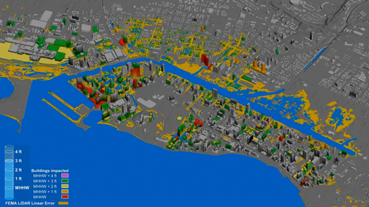 Sea level rise scenarios (shown here as current tidal mean higher high water (MHHW) plus 3 ft) are used to visualize the potential impact of marine and ground water inundation on buildings and infrastructure.