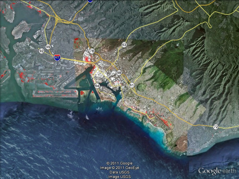 3 Ft Sea Level Rise Scenario Along The Honolulu Coastline