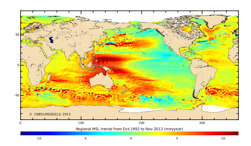 Map Of Sea Level Change 1993 2010 Mm Yr