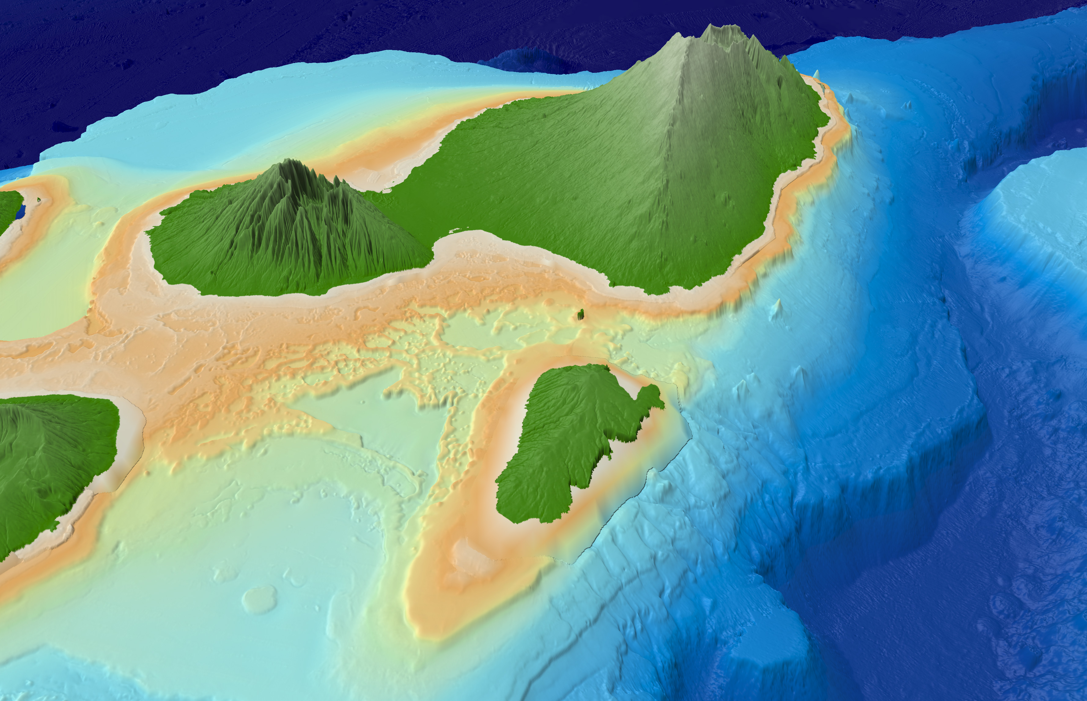 Topographic Map Of Maui.Main Hawaiian Islands Multibeam Bathymetry Synthesis