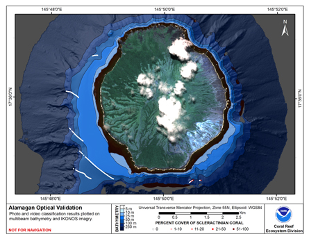 This map displays optical validation observation locations and percent coverage of scleractinian coral overlaid on bathymetry.