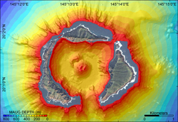 Image of Maug Caldera multibeam depth data.