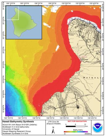 Kohala Hawaii Map.Hawaii Big Island Bathymetry Pacific Islands Benthic Habitat