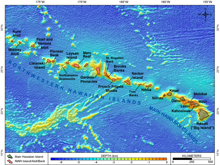 Main hawaiian islands pacific islands benthic habitat mapping center map of hawaiian archipelago gumiabroncs Gallery