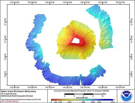 Image map of Baker Island bathymetry.