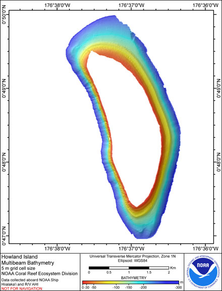 Image of Howland Island bathymetry.