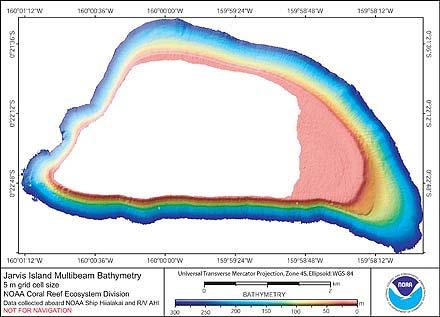 Image of Jarvis Island bathymetry.