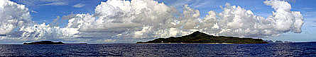 Photo of looking west at Tutuila and Aunu'u Islands.
