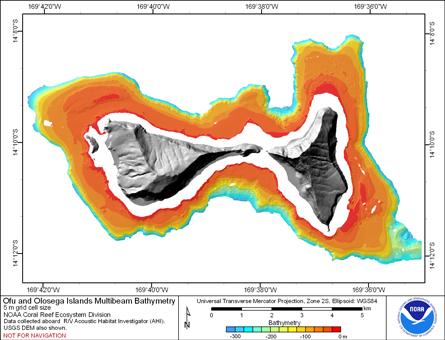 Image map of Ofu and Olosega bathymetry.