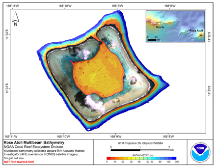 Image map of Rose Atoll bathymetry.