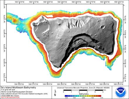 Image map of Ta'u bathymetry.