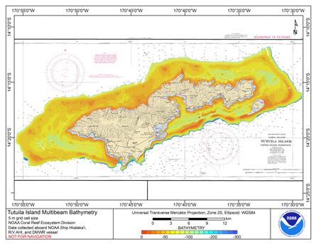 Image map of Tutuila bathymetry.