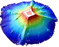 3D image of Rose Atoll bathymetry.