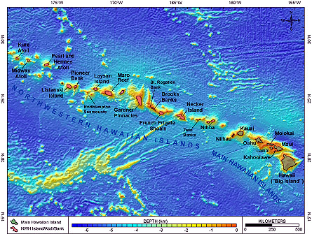 Map of Hawaiian Archipelago.