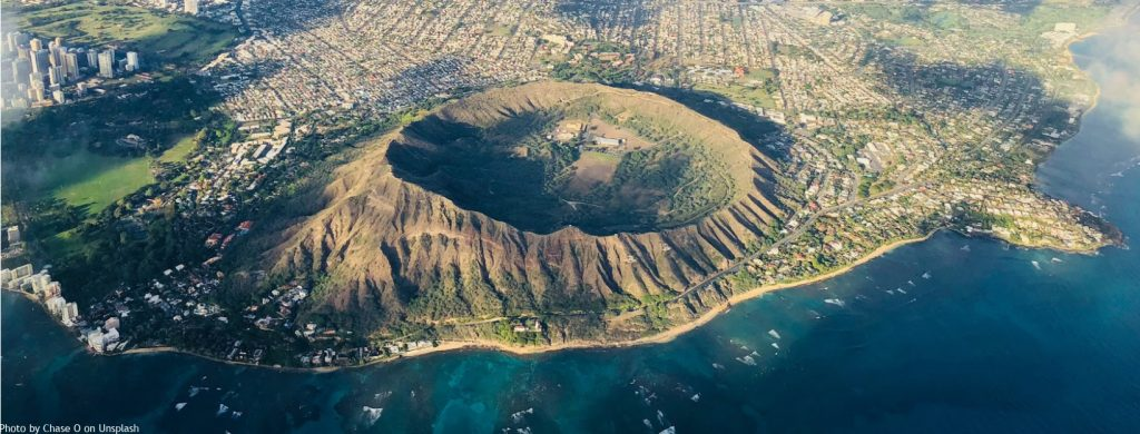 Aerial image of Diamond Head Crater