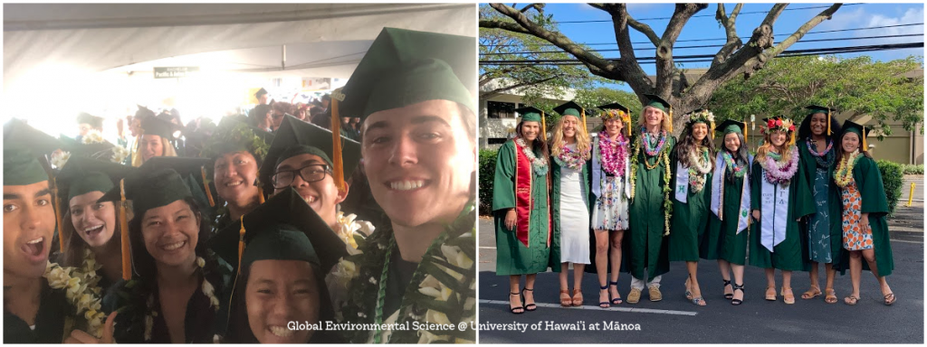Image collage of GES students in their cap and gowns during a graduation ceremony.