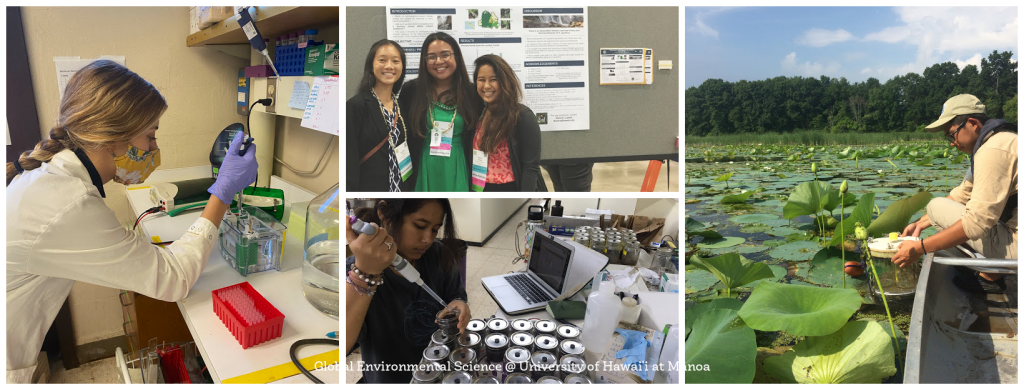 An image collage of GES students working in the field, working in the lab, and at conferences.
