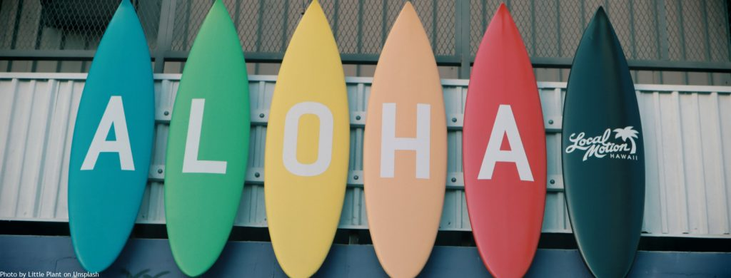 Image of colorful surfboards with the word 'ALOHA' written on them.