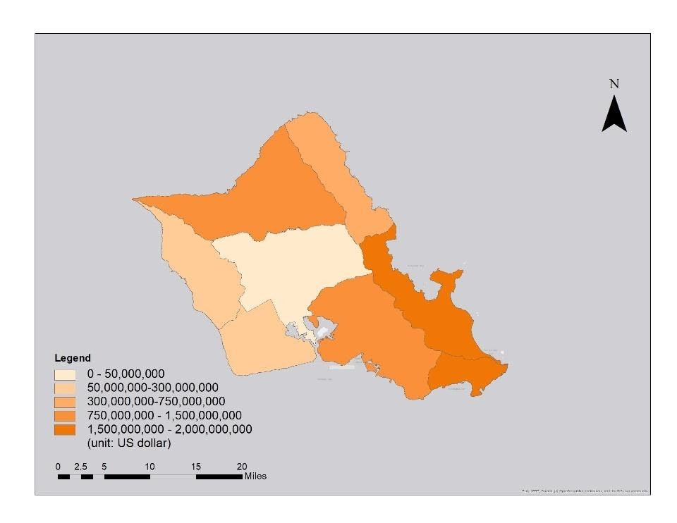 Map depicting the impact of sea level rise on housing in various regions of Oahu.