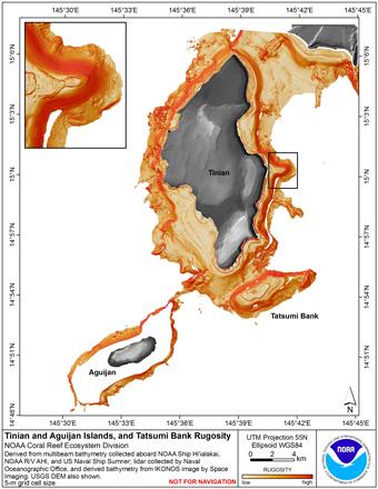 Image map of Tinian rugosity.
