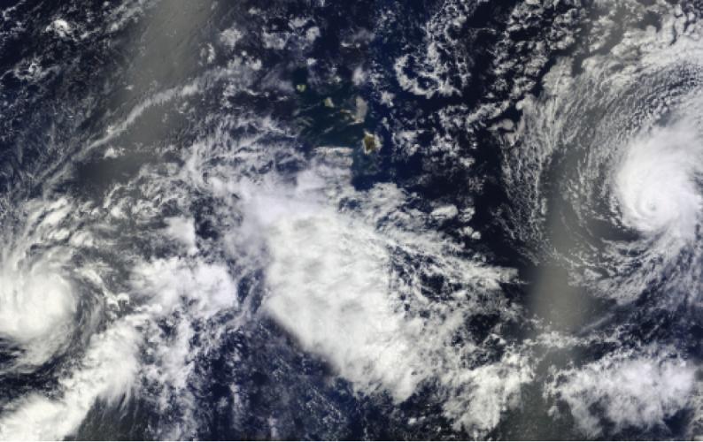 2014 three hurricanes and Hawaiian Islands