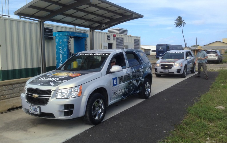 Drivers can now self-fill vehicles with hydrogen at Marine Corps Base Hawaii. Credit: Mitch Ewan, HNEI.