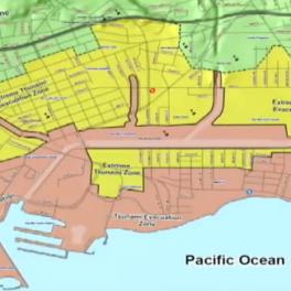 Map showing extreme tsunami evacuation zones for Waikiki in yellow. Image courtesy of KITV.