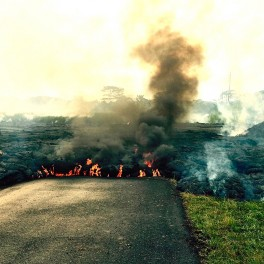 Lava flow crossed Apa'a Road in Puna in October 2014 and threatened power lines. Credit: USGS.