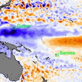 Graphic of extreme low sea levels in the Pacific