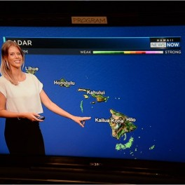 image of TV meteorologist pointing to map of Hawaii