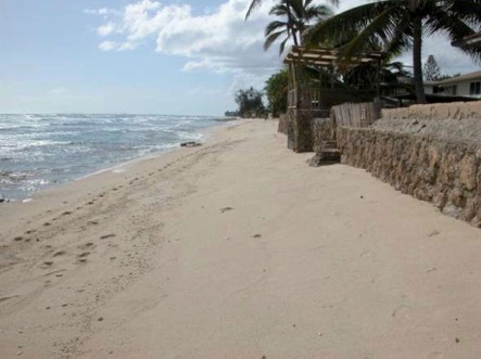 Photo of beach narrowing at Ewa Beach