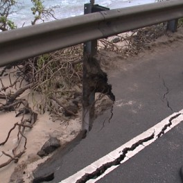Photo of damage to Kamehameha Highway.