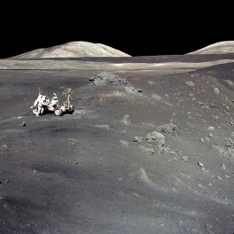 Image of Apollo 17 crew at Shorty Crater on the Moon