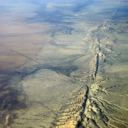 Aerial view of San Andreas Fault in the Carrizo Plain, 8,500 ft. altitude. Credit: Kluft/Wikimedia.