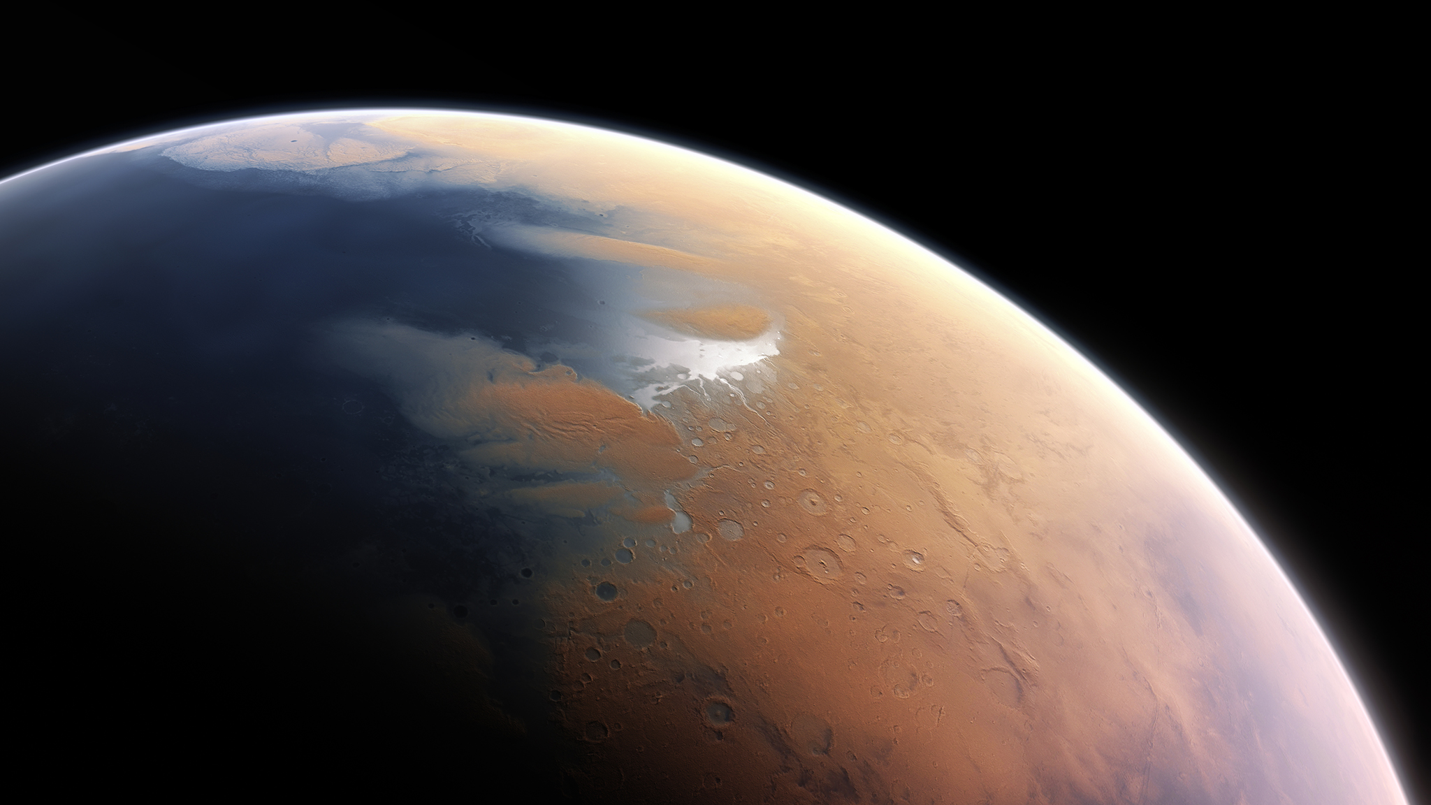 This artist's impression shows how Mars may have looked about four billion years ago