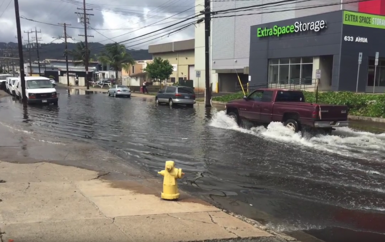 Video still of street flooding.