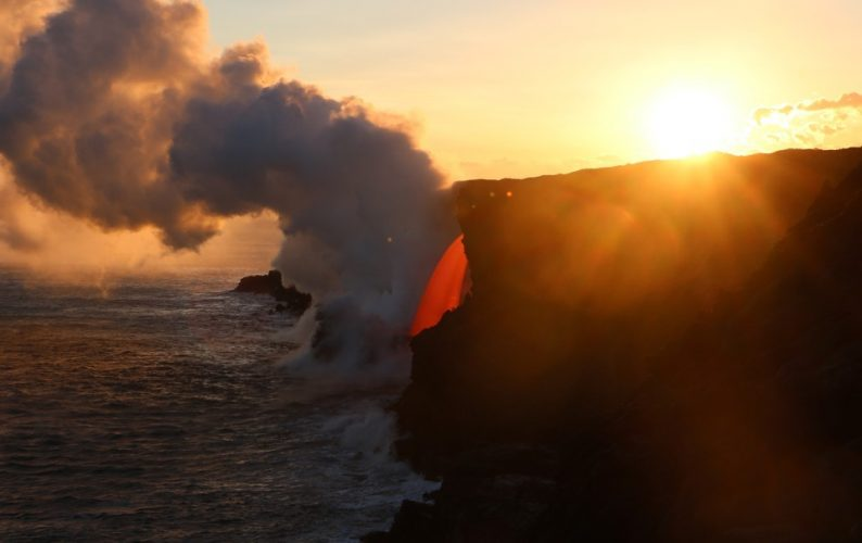 USGS image of lava flowing into the ocean