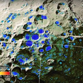 Graphic of cold, bright areas in the Moon's south polar region