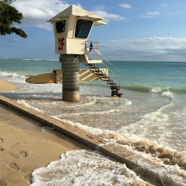 High tides reach a life guard station in Waikiki.