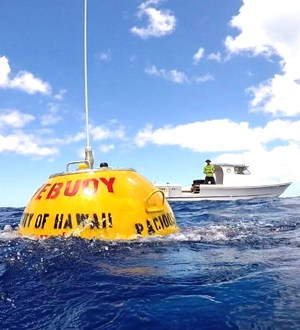 PacIOOS wave buoy in waters off Pearl Harbor, Oʻahu.