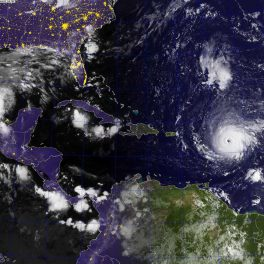 satellite image of Hurricane Irma approaching Caribbean Sea