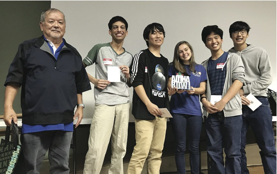 The 2018 Aloha Bowl championship team from Maui High included (from right) Michael Wong, Quinton Wong, Laney Flanagan, One Jae Lee and Zain Jabbar. Their advisor was Ed Ginoza.