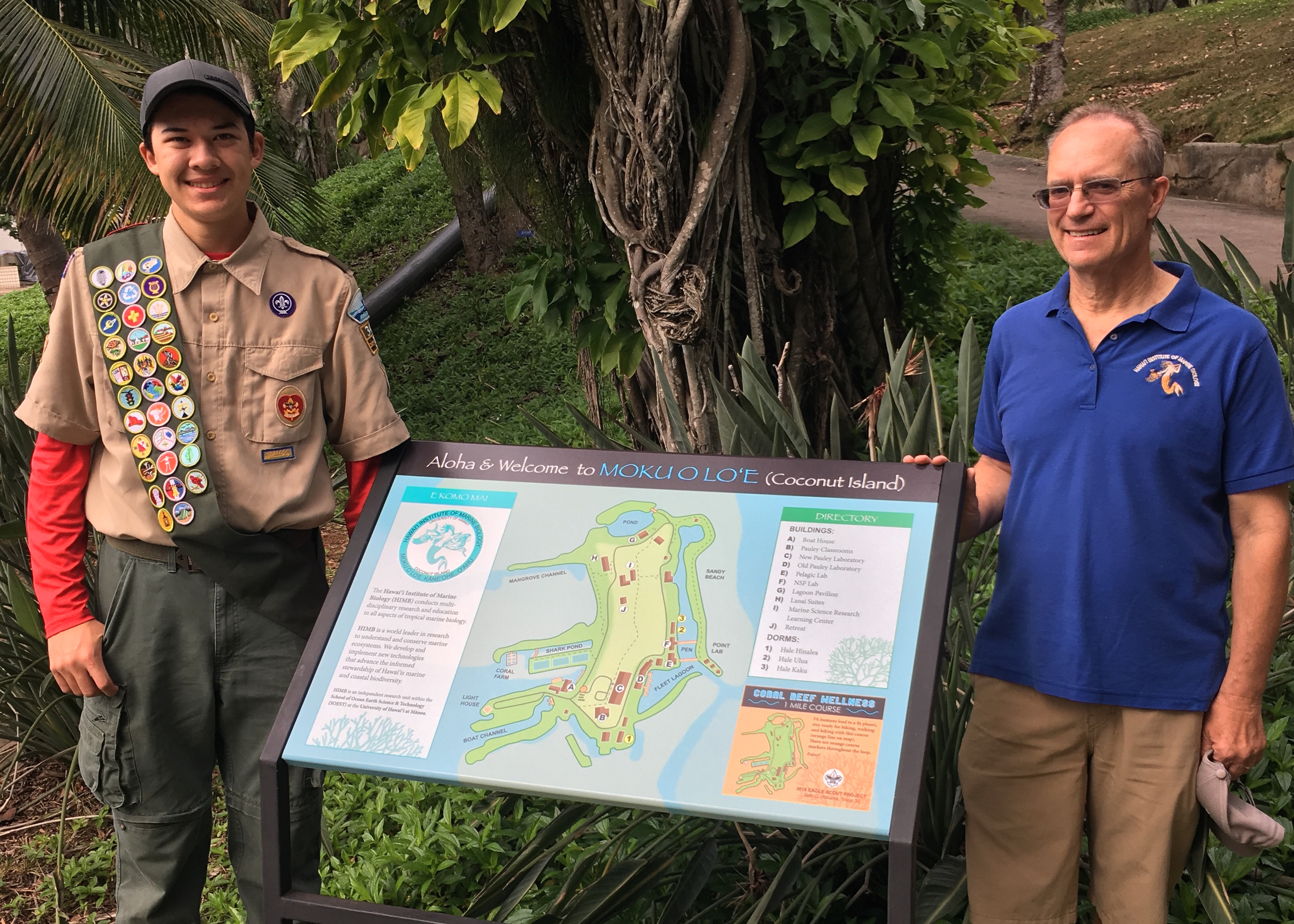 Seth Williams and Mark Heckman with map of HIMB Fitness Course