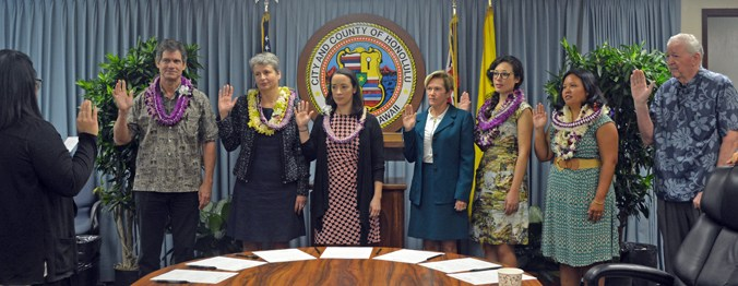 University of Hawaiʻi at Mānoa's Rosie Alegado, Makena Coffman and Chip Fletcher are sworn in to the city's Climate Change Commission. (Photo courtesy of the Honolulu mayor's office)