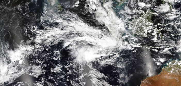 Satellite image of clouds over the southwestern Pacific Ocean