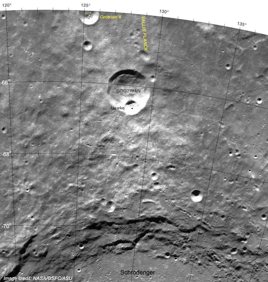 NASA image of Hawke lunar crater