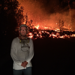 Bruce Houghton in the field, 2018 Kilauea eruption.